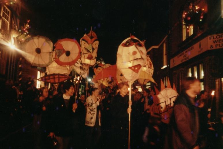 Congleton 1994. Christmas Procession. Workshop leader.